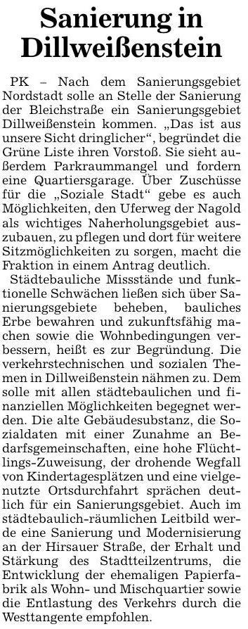 PK: Sanierung in Dillweißenstein