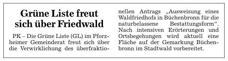 PK: Grüne Liste freut sich über Friedwald