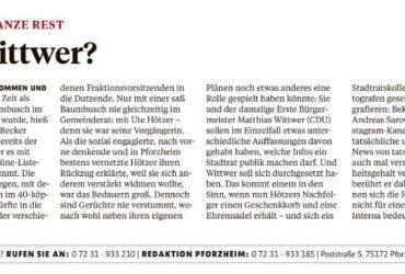 PZ: Pforzheims Politiker und der ganze Rest. Wer wirkt wie Wittwer?